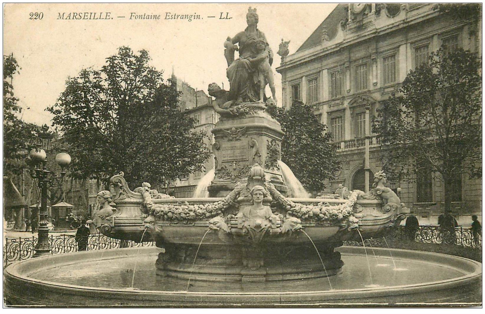 carte postale ancienne 13 MARSEILLE. Fontaine Estrangin 1912