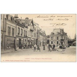 carte postale ancienne 61 LAIGLE L'AIGLE. Caisse Epargne Place Bois-Landry 1904 et à la Belle Jardinière