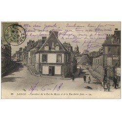 carte postale ancienne 61 LAIGLE L'AIGLE. Carrefour Rue du Maure et Saint-Jean 1918 Epicerie Filleul
