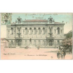 carte postale ancienne 13 MARSEILLE. La Bibliothèque 1910. Timbre Indo-Chine expo.
