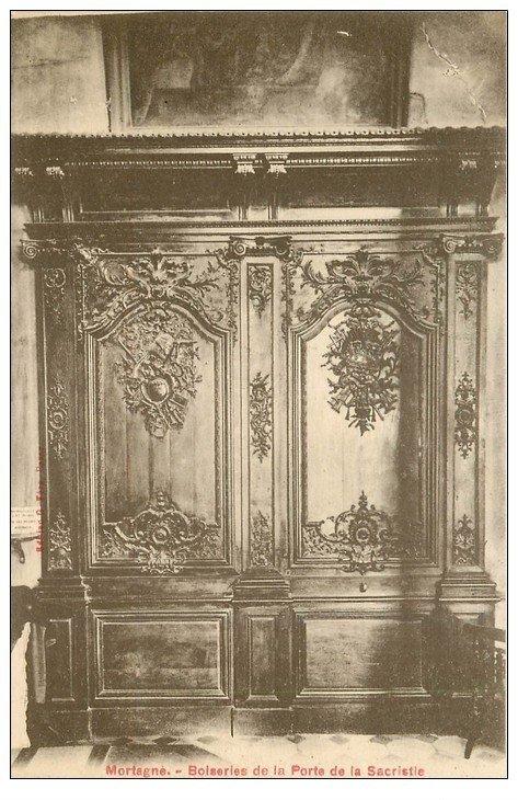 carte postale ancienne 61 MORTAGNE. Eglise Notre-Dame Porte Sacristie