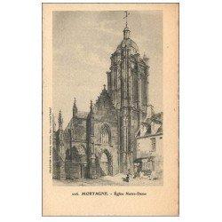 carte postale ancienne 61 MORTAGNE. Eglise Notre-Dame. Carte papier velin style Parchemin découpe à la ficelle
