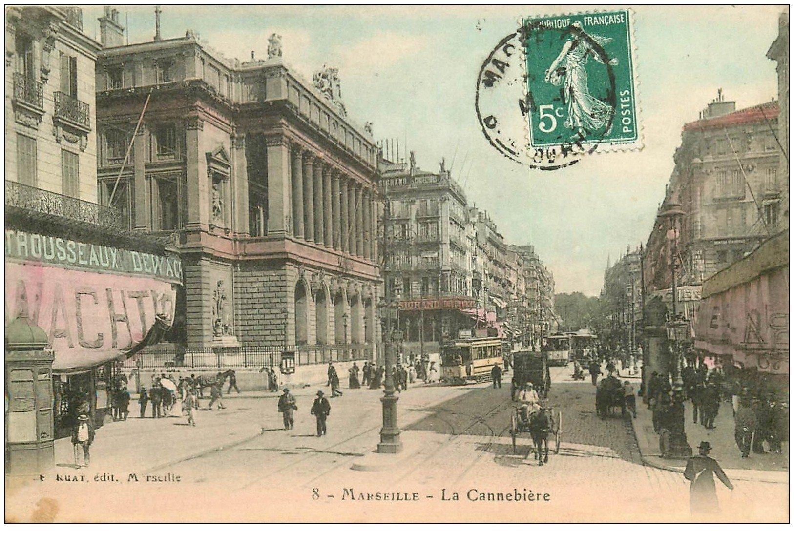 carte postale ancienne 13 MARSEILLE. La Cannebière vers 1910