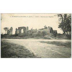 carte postale ancienne 62 ACHIET-LE-GRAND. Ruines de l'Eglise 1920