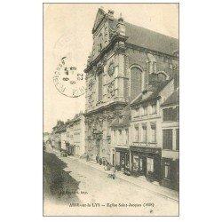 carte postale ancienne 62 AIRES-SUR-LA-LYS. Eglise Saint-Jacques 1922