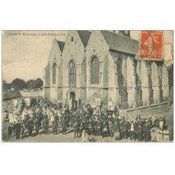 carte postale ancienne 62 AIX-NOULETTE. Eglise et Harmonie 1913