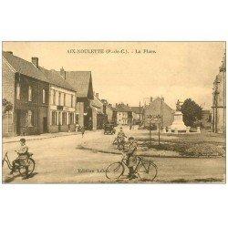carte postale ancienne 62 AIX-NOULETTE. La Place pompe à essence Azur