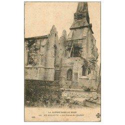 carte postale ancienne 62 AIX-NOULETTE. Les Ruines du Clocher. Guerre 1914-18