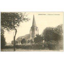 carte postale ancienne 62 AMETTES. Eglise et Cimetière