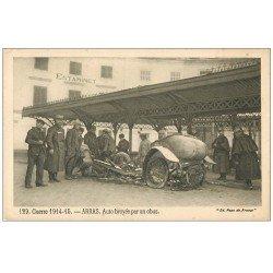 carte postale ancienne 62 ARRAS. Automobile broyée par un obus