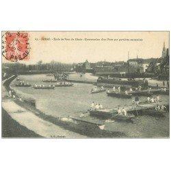 carte postale ancienne 62 ARRAS. Construction d'un Pont avec portières par le Génie 1910
