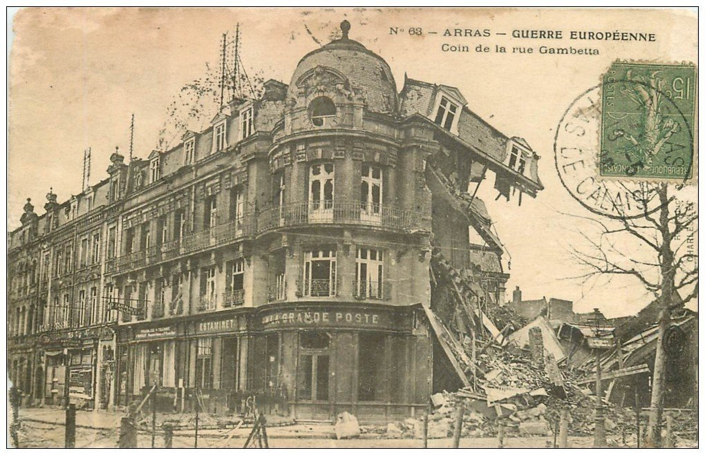 carte postale ancienne 62 ARRAS. Estaminet Grande Poste rue Gambetta 1920