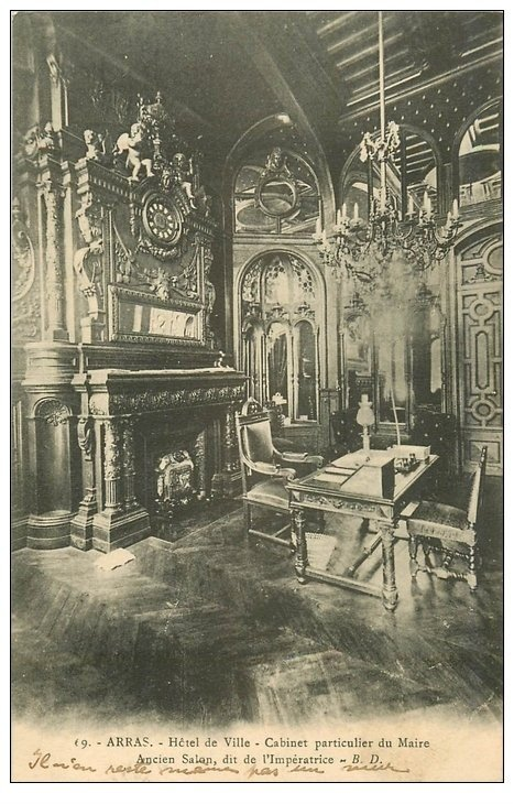carte postale ancienne 62 ARRAS. Hôtel de Ville. Cabinet du Maire