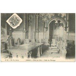 carte postale ancienne 62 ARRAS. Hôtel de Ville. Salle des Mariages et Armoiries