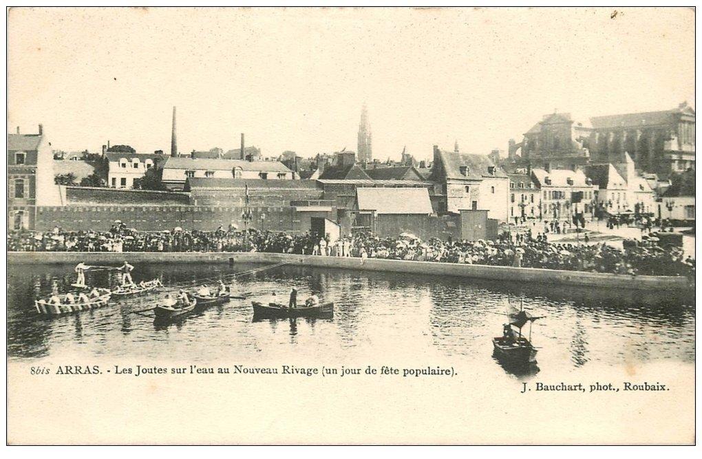 carte postale ancienne 62 ARRAS. Joutes sur l'Eau Nouveau Rivage vers 1900