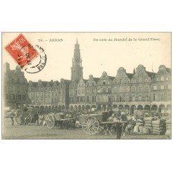 carte postale ancienne 62 ARRAS. Le Marché sur Grand'Place