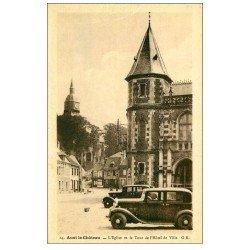 carte postale ancienne 62 AUXI-LE-CHATEAU. Eglise et Tour Hôtel de Ville voitures anciennes