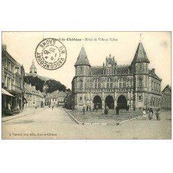 carte postale ancienne 62 AUXI-LE-CHATEAU. Hôtel de Ville et Eglise 1920