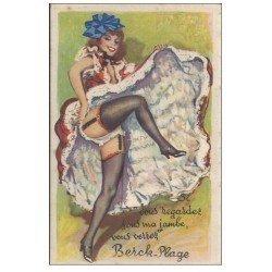 carte postale ancienne 62 BERCK. Carte montage fantaisie Danseuse French Cancan avec 10 mini-vues sous la jambe