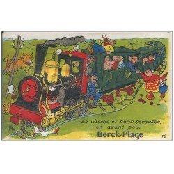carte postale ancienne 62 BERCK. Carte montage fantaisie Train avec mini-vues sous la Locomotive