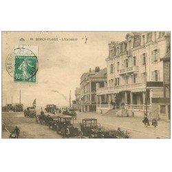 carte postale ancienne 62 BERCK. L'Entonnoir avec voitures anciennes 1923