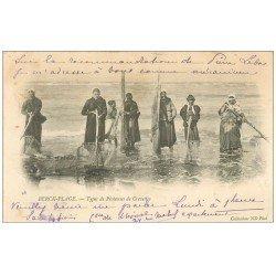 carte postale ancienne 62 BERCK-PLAGE. Pêcheuses de Crevettes 1907. Métiers de la Mer
