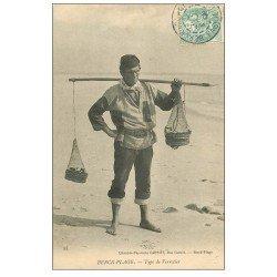 carte postale ancienne 62 BERCK-PLAGE. Type de Verrotier 1906. Métiers de la Mer