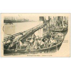 carte postale ancienne 62 BOULOGNE-SUR-MER. Bateaux de Pêche vers 1900. Métiers de la Mer