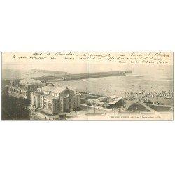 carte postale ancienne 62 BOULOGNE-SUR-MER. Casino, Plage et Jetée 1904. Carte Panoramique double