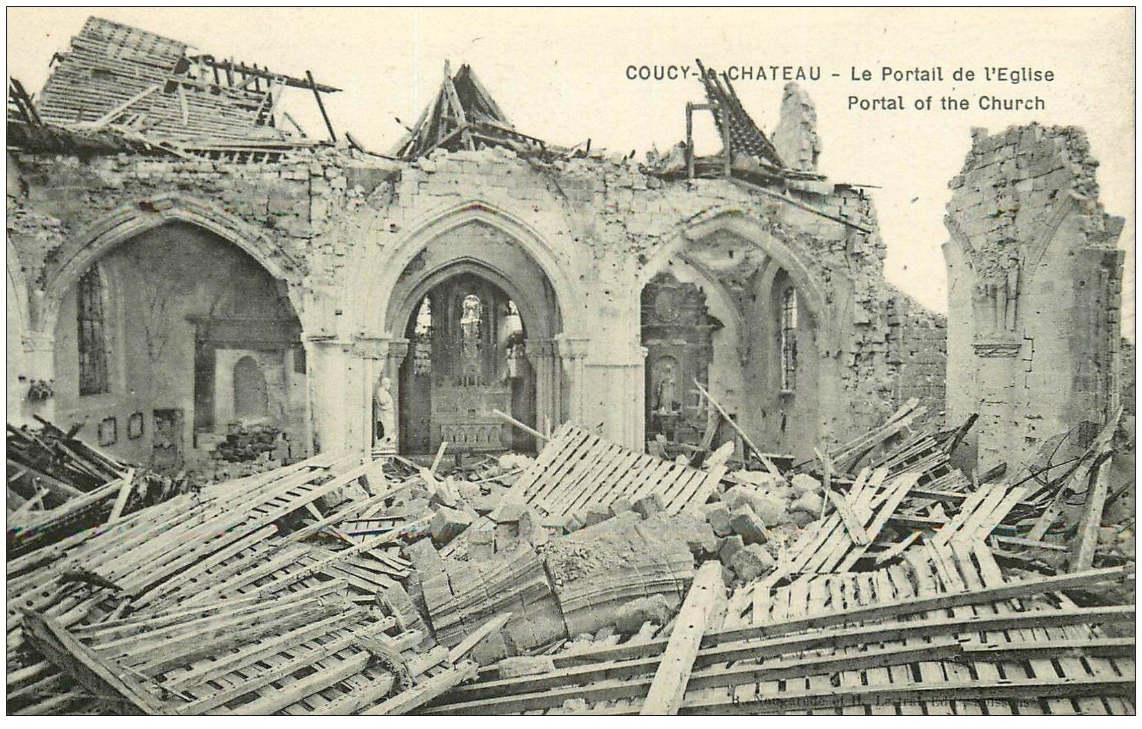 carte postale ancienne 02 COUCY-LE-CHATEAU. Portail de l'Eglise