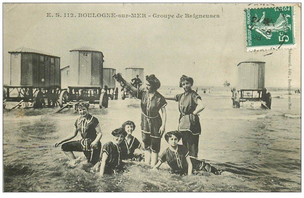 62 boulogne sur mer groupe de baigneuses et cabines de for Salle de bain boulogne sur mer
