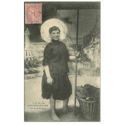 carte postale ancienne 62 BOULOGNE-SUR-MER. Jeune Pêcheuse de Crustacés et Crevettes 1906