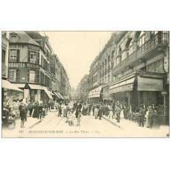 carte postale ancienne 62 BOULOGNE-SUR-MER. La Rue Thiers café et Galeries