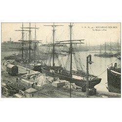 carte postale ancienne 62 BOULOGNE-SUR-MER. Le Bassin à Flot. Bateaux Islandais
