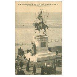 carte postale ancienne 62 BOULOGNE-SUR-MER. Statue Général San Martin 1913