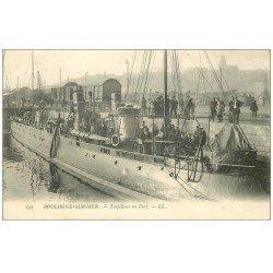 carte postale ancienne 62 BOULOGNE-SUR-MER. Torpilleur au Port 1904. Marine Militaire Française