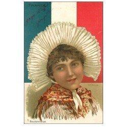 carte postale ancienne 62 BOULOGNE-SUR-MER. Une Boulonnaise drapeau tricolore 1904. Par Zalaman Tuck &amp Fils