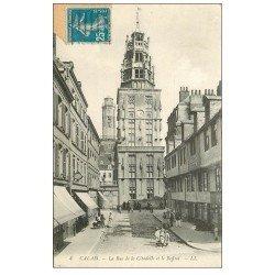 carte postale ancienne 62 CALAIS. Beffroi Rue de la Citadelle Buvette Restaurant Dubour