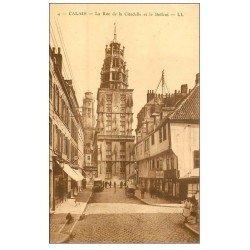carte postale ancienne 62 CALAIS. Beffroi Rue de la Citadelle Restaurant Dubour