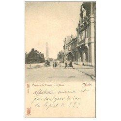 carte postale ancienne 62 CALAIS. Chambre de Commerce et Phare 1904
