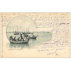 carte postale ancienne 62 CALAIS. Chargement du Bateau de Pêcheurs. Carte Pionnière 1904. Métiers de la Mer