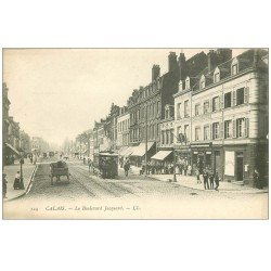 carte postale ancienne 62 CALAIS. Tramway Hippomobile Rue Jacquard