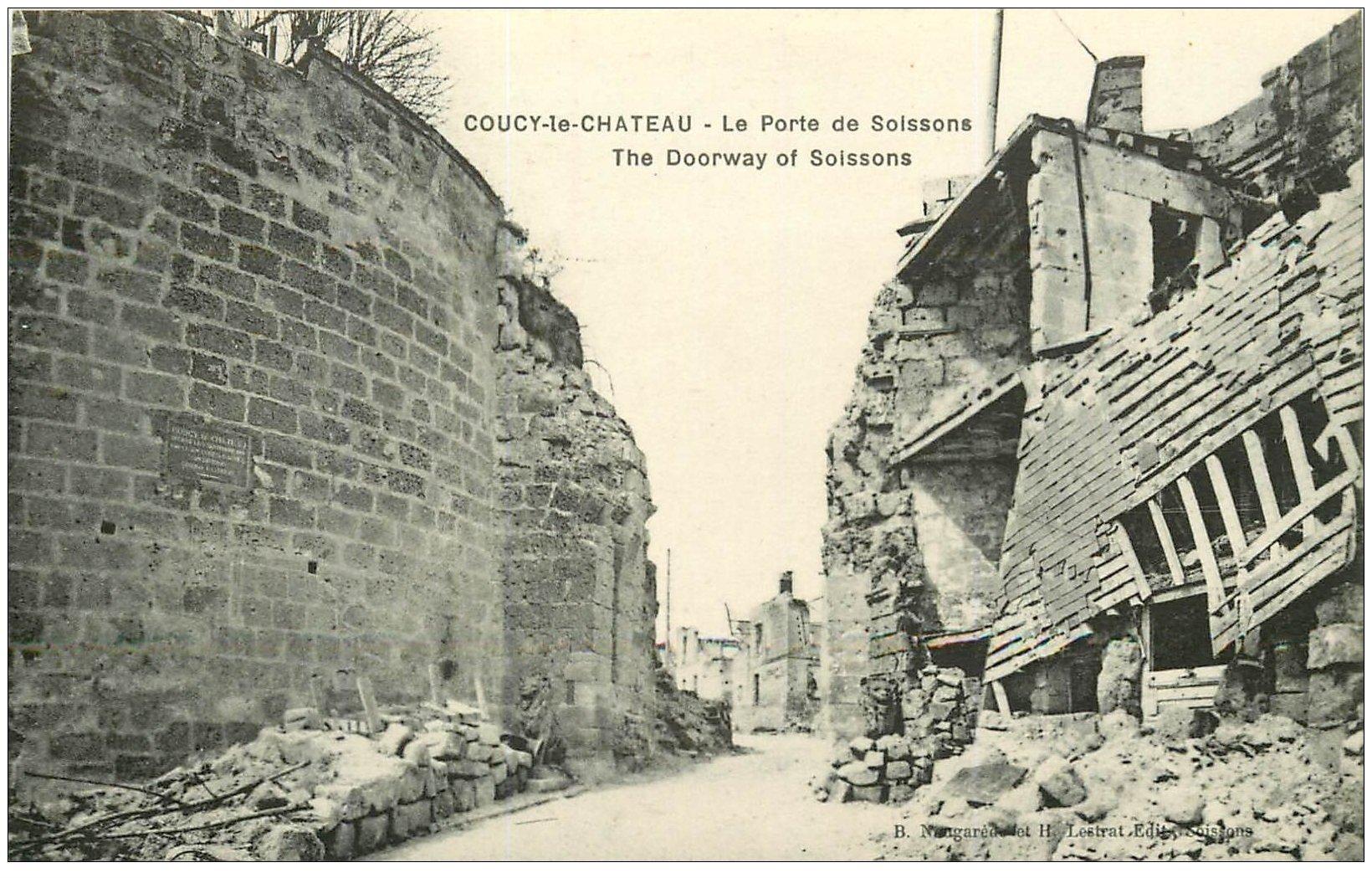 carte postale ancienne 02 COUCY-LE-CHATEAU. Porte de Soissons
