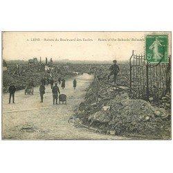 carte postale ancienne 62 LENS Ruines. Boulevard des Ecoles