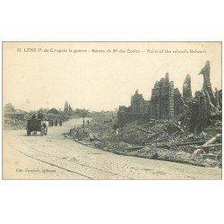 carte postale ancienne 62 LENS Ruines. Boulevard des Ecoles attelage