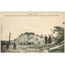 carte postale ancienne 62 LENS Ruines. L'Eglise et décombres