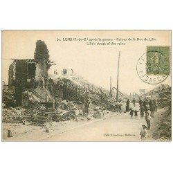 carte postale ancienne 62 LENS Ruines. Rue de Lille