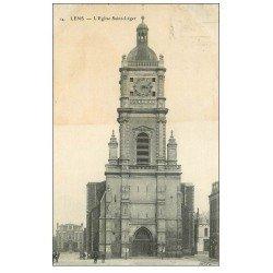 carte postale ancienne 62 LENS. Eglise Saint-Léger 1910