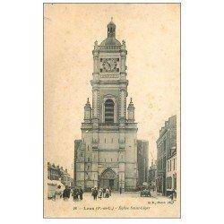 carte postale ancienne 62 LENS. Eglise Saint-Léger n°26 Hôtel des Voyageurs