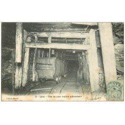 carte postale ancienne 62 LENS. Mines Tête de plan incliné automoteur 1906